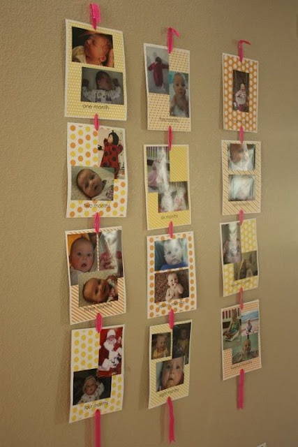 This would be cute to display at my daughter's birthday party - one string of pictures for each year.  From nickwilljack
