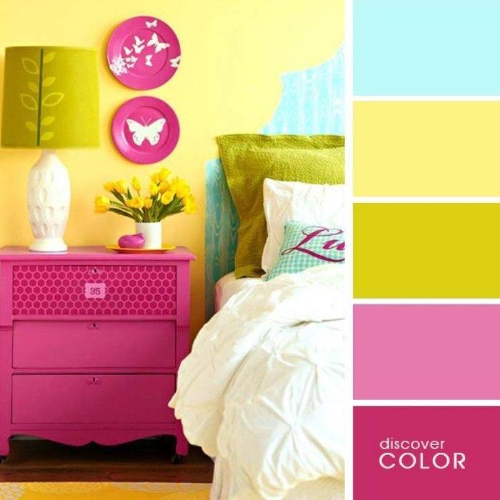 Желтый цвет позволит визуально увеличить площадь комнаты, а розовые и голубые акценты сделают спальню яркой и романтичной.