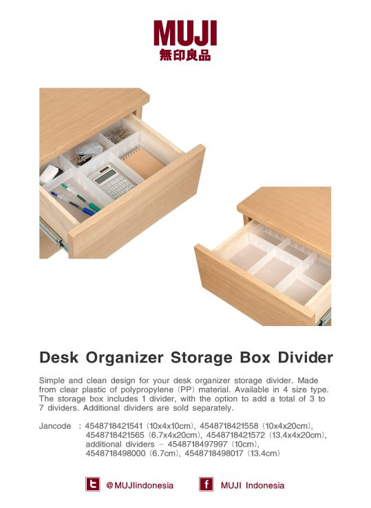 Desk Organizer Storage Box Divider, available in 4 size type. Simple and clean design to organize your stationary.