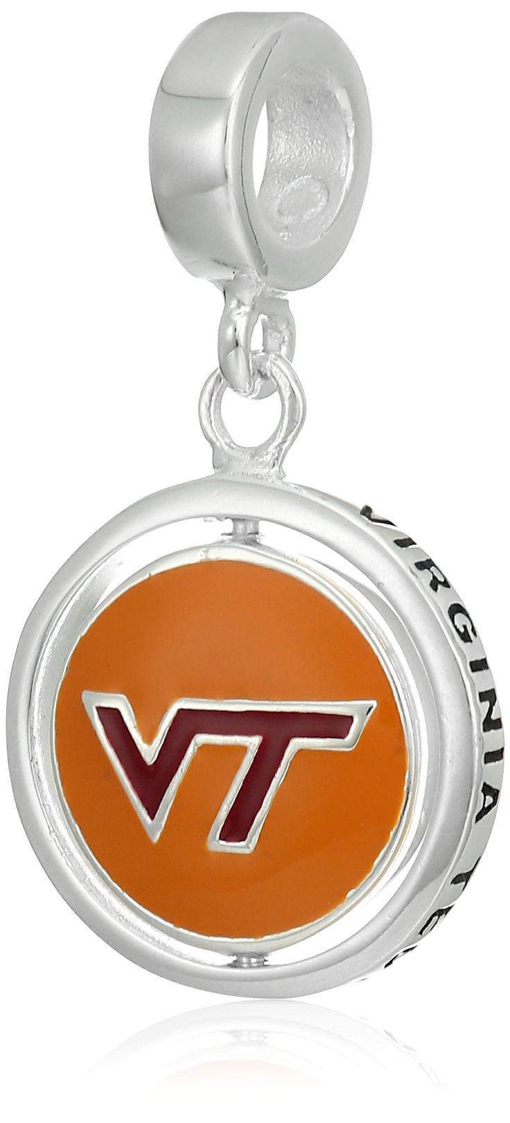 Persona Sterling Silver Virginia Tech Beads and Charms. Virginia Tech charm from the Campus Life collection. 925 sterling silver rotating charm, hand-painted with enamel. Pair with more Virginia Tech charms and maroon & orange spacers. Meant to be worn on bracelets, necklaces, and earrings or as an addition to an existing charm bracelet; compatible with Pandora brand bracelets.