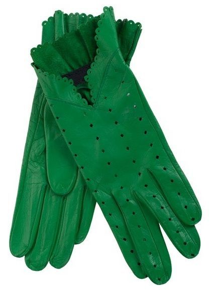 A Pair of Ladies Green Leather Gloves featuring Diamond-shaped Perforations & a Scalloped-edge Trim ~ by Christine Bec ....