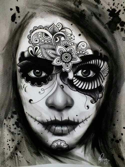 Day of the Dead mask, floral, art, make up