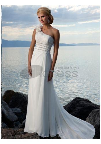 Abiti da Sposa Spiaggia-Impero una spalla abiti da sposa spiaggia spiaggia di chiffon