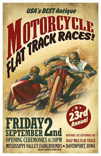 Moto piste plate courses moto Vintage Poster affiche par WallArty