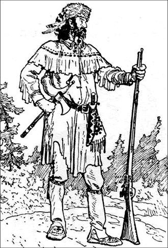 """A Coureur de Bois by C.W. Jeffreys. """"Buckskin coat and leggings, and wearing a cap of coon fur with the tail attached."""" #newfrance #cdnhistory #historicalfashion"""