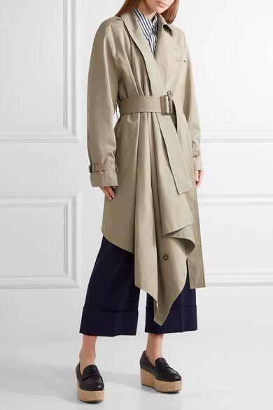 Michael Kors Collection - Asymmetric Cotton-gabardine Trench Coat - Mushroom