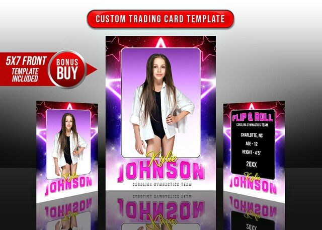 Sports Trading Cards And 5x7 Template Star Glamour Trading Card Template Trading Cards Templates