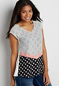 knit dolman tee with patterned chiffon front