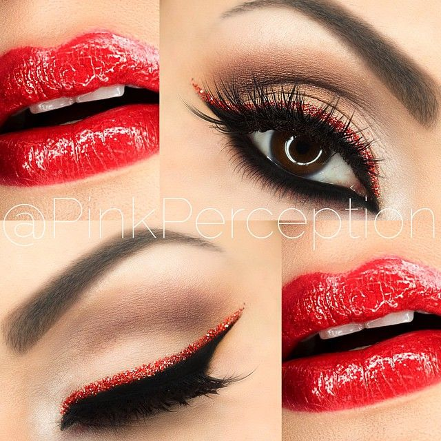 More from this red glitter liner, natural palette, black liner is LBD #makeup