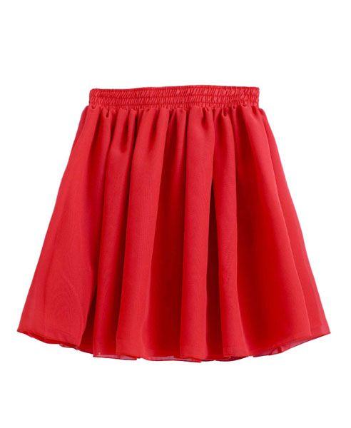Vintage Red Full Pleated and High Waist Chiffon Mini Skirt