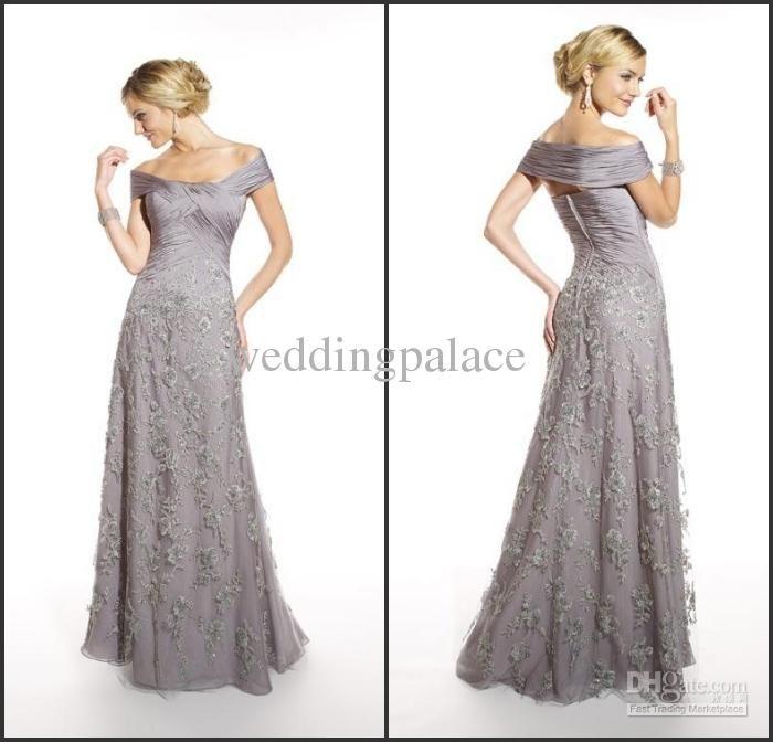 Wholesale Wonderful Glamorous Applique Ruffle Gray Chiffon Bateau mother of the bride dresses evening dress, Free shipping, $103.04-136.64/Piece   DHgate