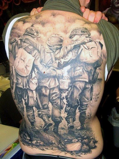 Men's War Back Tattoos