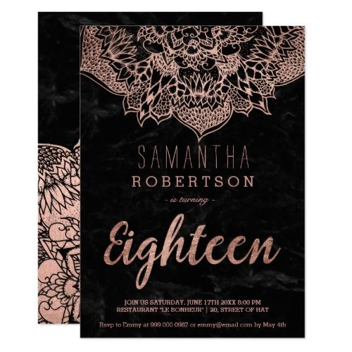 120 best typography birthday invitations images on pinterest faux rose gold boho mandala black marble 18th card stopboris Image collections