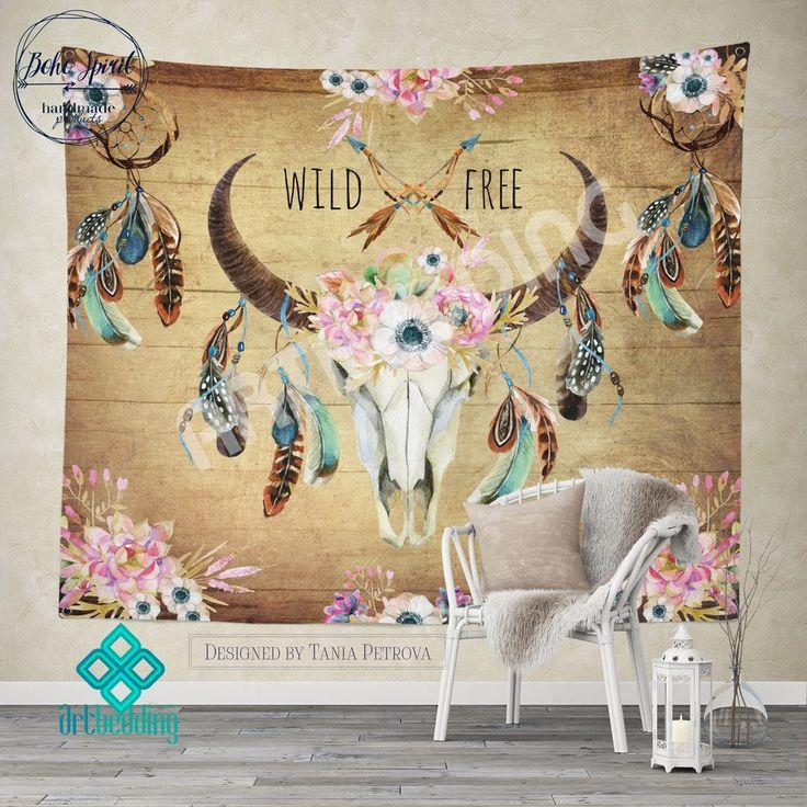 Buffalo Totem Dreamcatcher wall tapestry, Wartercolor Buffalo Skull wall hanging, Buffalo Head hand drawn wildflowers wall art print, Feathers boho wall tapestries