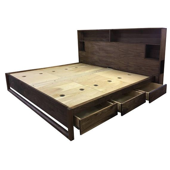 Modern Bed With Headboard Storage And Charging Bed With Etsy
