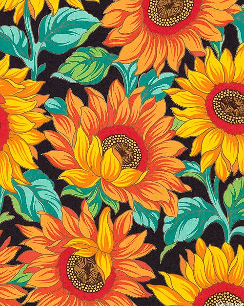 Rita Floral - Viola Sunflowers - Quilt Fabrics from www.eQuilter.com