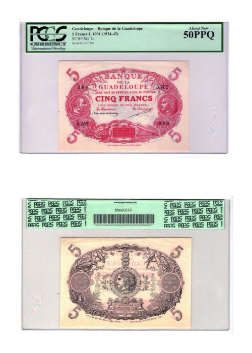 Paper Money: Guadeloupe 5 Francs 1901 (1934-1943) P-7C Pcgs 50 Ppq About Uncirculated Banknot BUY IT NOW ONLY: $395.95