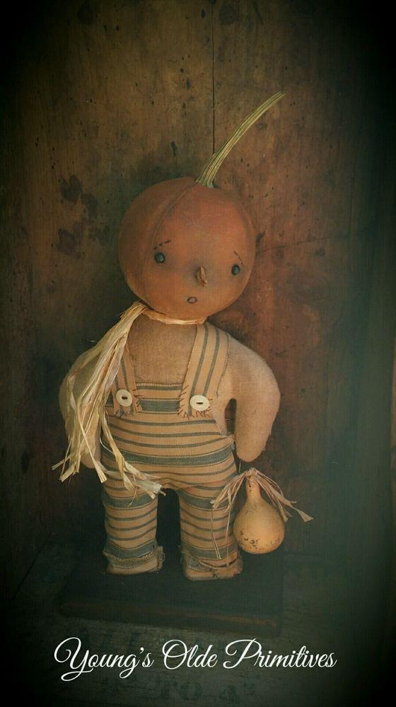 **Primitive Standing Pumpkin Boy Doll Fall Halloween**