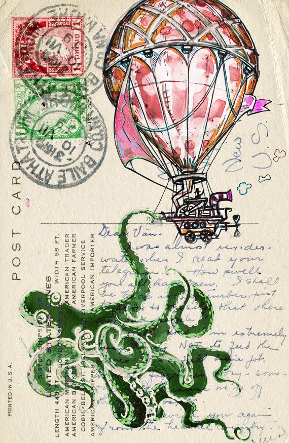 "Fine art print painting octopus illustration  hot air balloon art poster watercolor artwork 8"" x 10"""