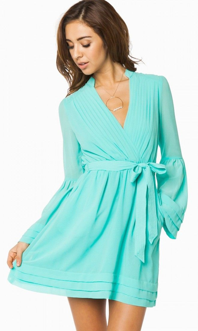 wrap dress in turquoise mint