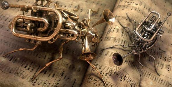 cool :D: French Horn, Music Instruments, Abstract Art, Stars War Art, Steam Punk, Bugs Art, Music Sheet, Steampunk, Music Book