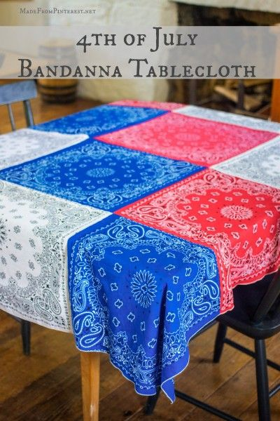 How to make your own Bandanna Tablecloth for 4th of July. Sew easy and doesn't cost much. Can be made in any color. Will be using this all year!