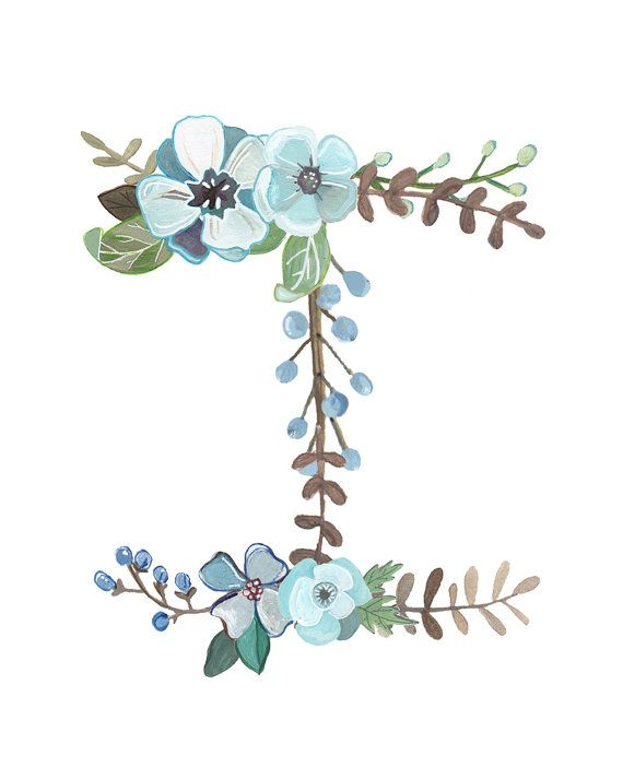 I Floral Letter Print Typography Illustration by Makewells