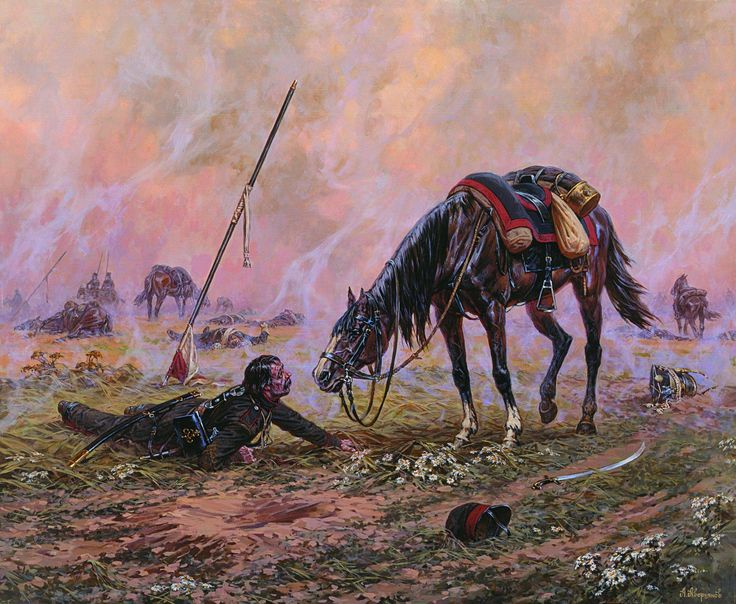 Wounded cossack rider and his horse.