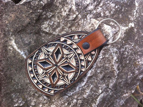 Geometric hand carved leather keychain  tooled leather