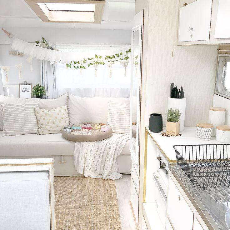 Vintage Viscount Caravan Renovation.  Gypsy boho interior.