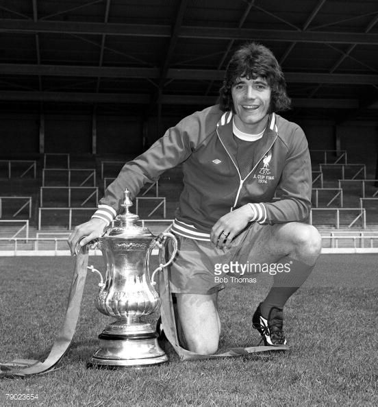 Sport Football England August 1974 Liverpool FC Photocall Liverpool FC's Kevin Keegan is pictured with the FA Cup trophy that his side won against Newcastle United