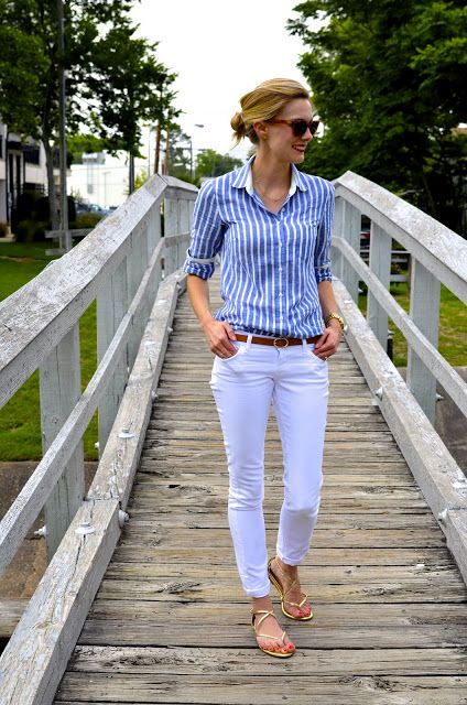Striped button down shirt and white skinny jeans