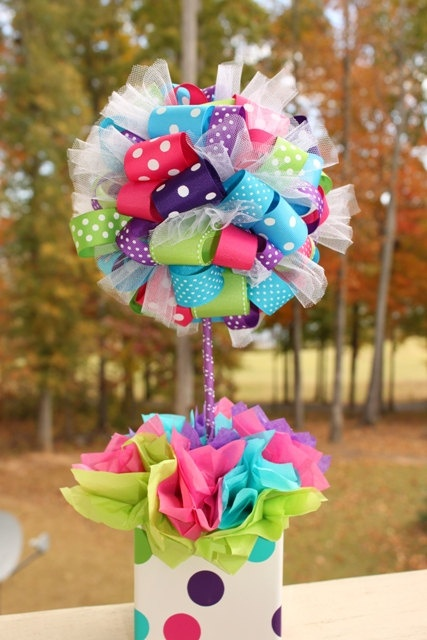 I must figure out how to make these! Ribbon Topiary via Etsy