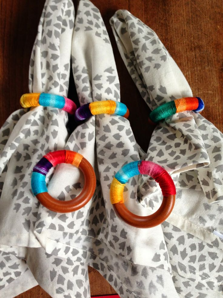DIY napkin wrings from shower curtain rings- so colorful, eclectic, and fun!