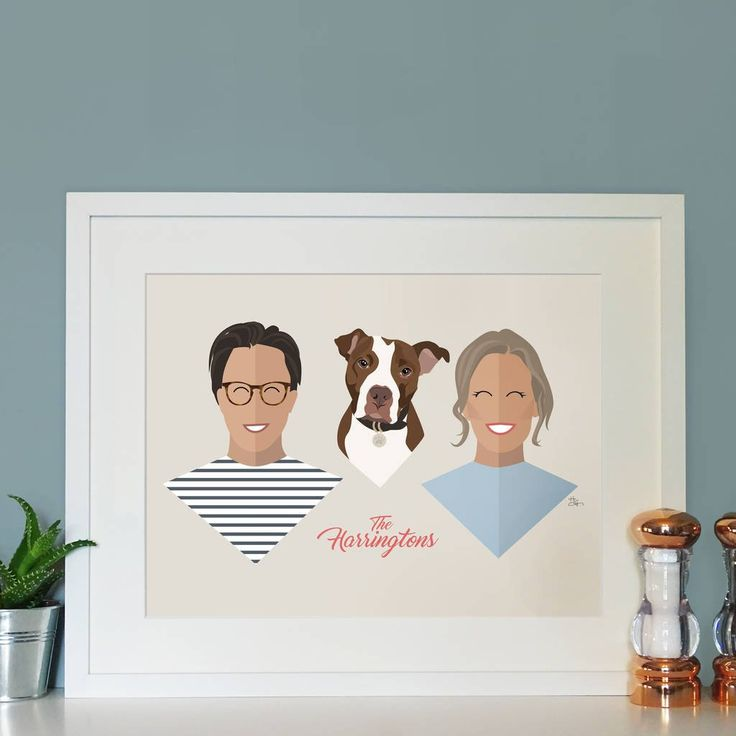 The original Faced personalised family portrait print.  Recreate your faces into this fun, contemporary style!  Jazz up any wall with your very own contemporary illustration of your family, big or small.