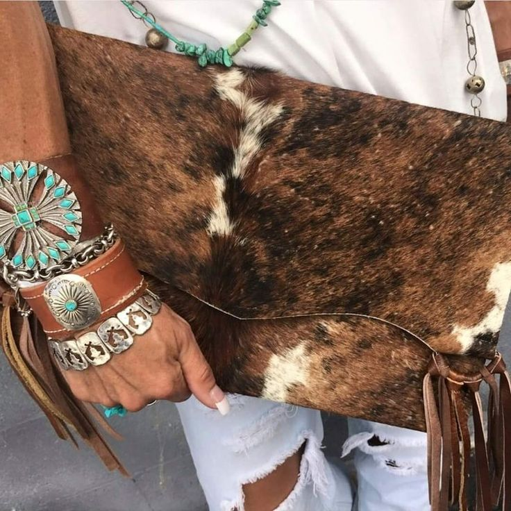 Brindle Cowhide Clutch via Bojangles Boutique. Click on the image to see more!