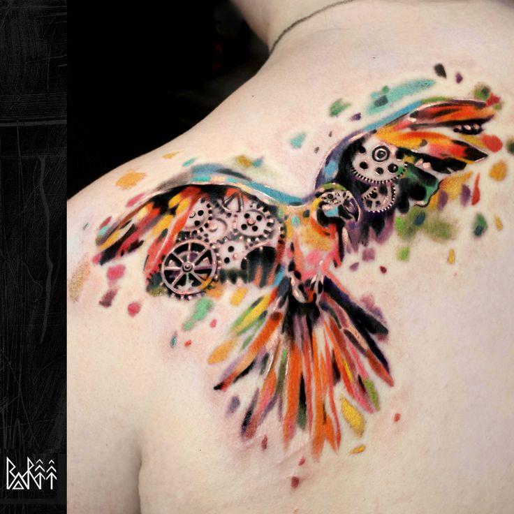 bartt-tattoo.com #watercolour #tattoo #parrot #parrottattoo #london #ink #bartt #colorful tattoo