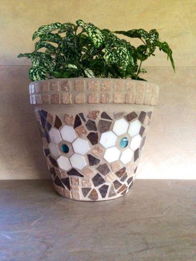 Mosaic flower pot large rustic