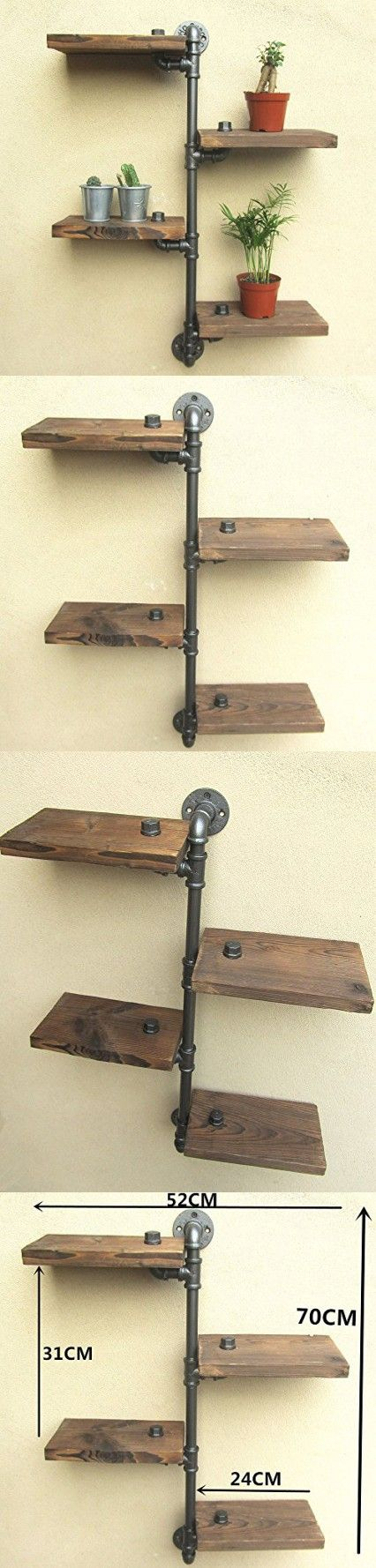 Vintage Home Decor-URBAN INDUSTRIAL RUSTIC WALL MOUNT IRON PIPE 4 TIERS WOOD SHELF SHELVING STORAGE