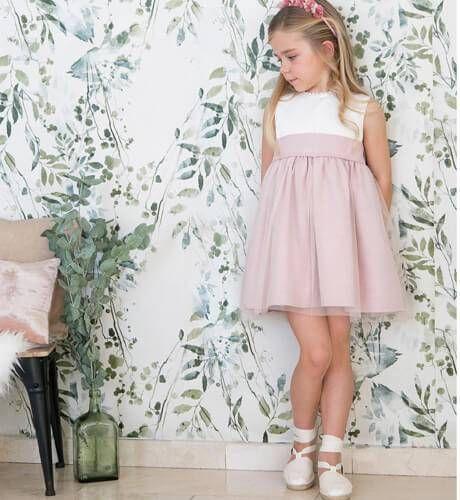 -NUEVO- Vestido niña ceremonia rosa con tul | Aiana Larocca