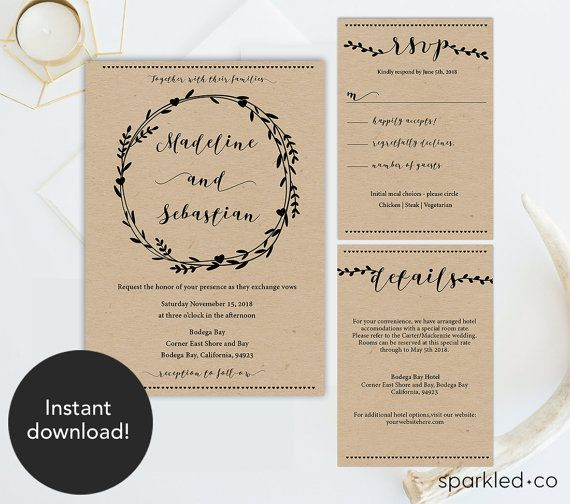 rustic vines wedding invitation set instantly download edit and print - Rustic Wedding Invitation Templates