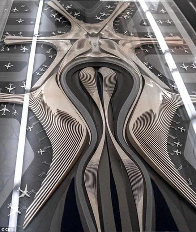 Author Yang Jinlin posted a picture of a model of Zaha Hadid's design for Beijing Airport ...