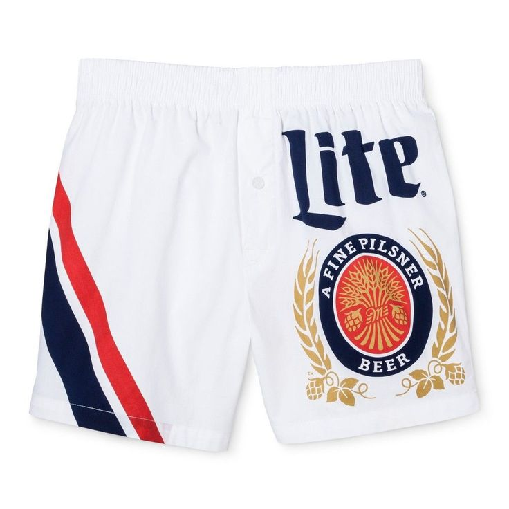 Men's Miller Lite Woven Boxer Shorts White/Navy Medium 1 Pk - Americana Underwear, Blue White