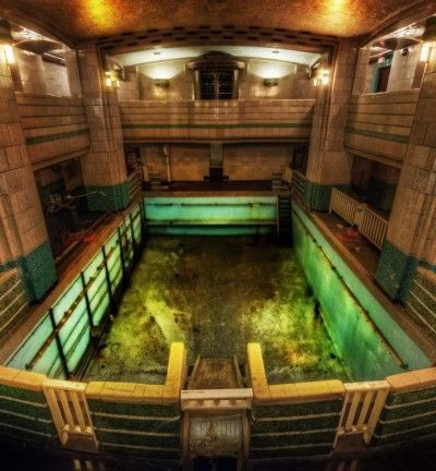 Haunted swimming pool on the Queen Mary ship in Long Beach California