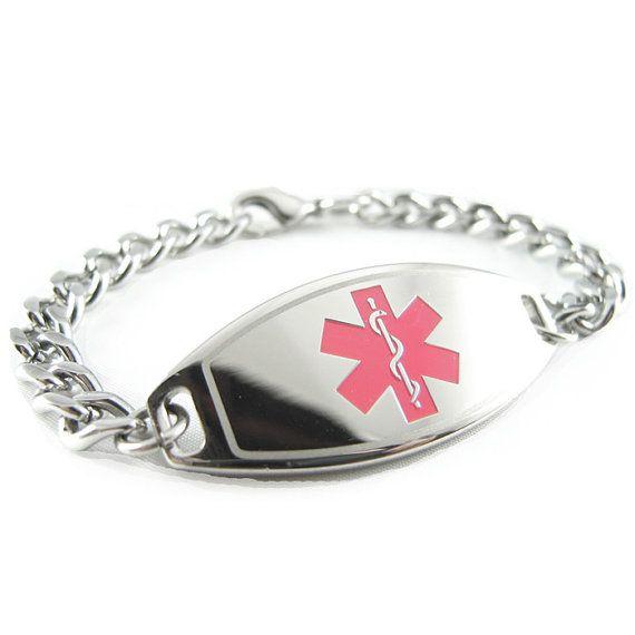 Pourquoi payer 150$ et plus pour un bracelet medicalert quand on peut obtenir un produit bien correct pour moins de 40$ sur Etsy!  Bracelet d'alerte médicale ID, Pink, personnalisé gravé libre - i1C-BS1