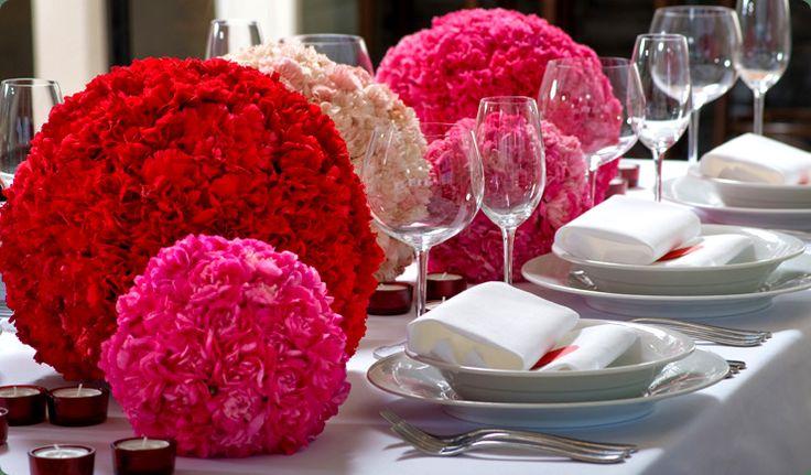 red carnation pomander centerpieces