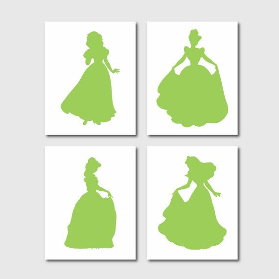 Cinderella Belle Sleeping Beauty Snow White Princess Silhouette Quad - Fariy tale princess - Nursery Waqll Art - 8 x 10 prints