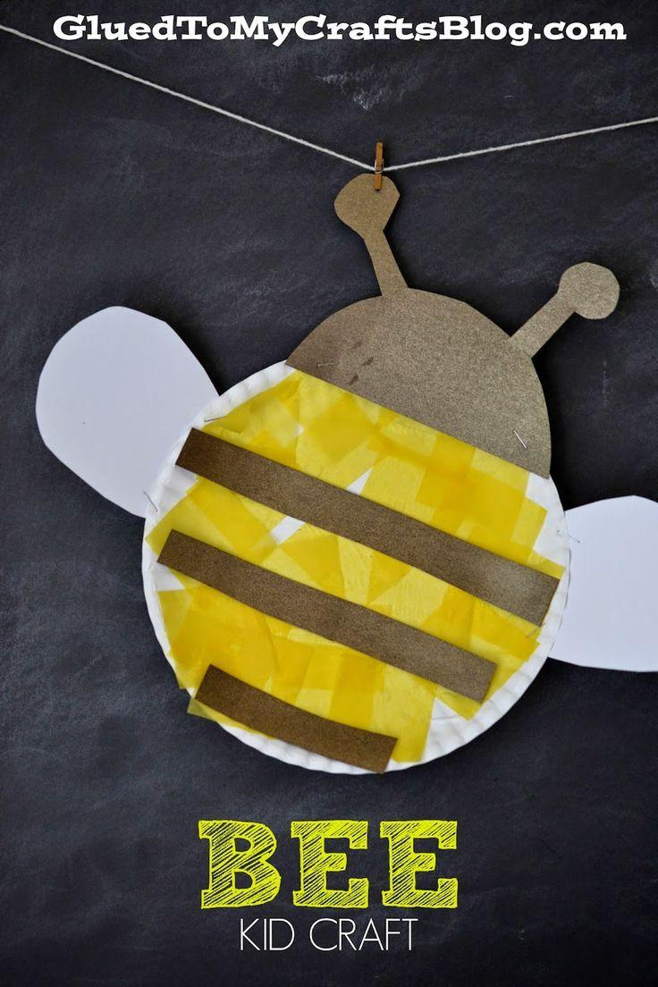 Paper Plate #Bee Craft for kids.  #preschool #kidscraft