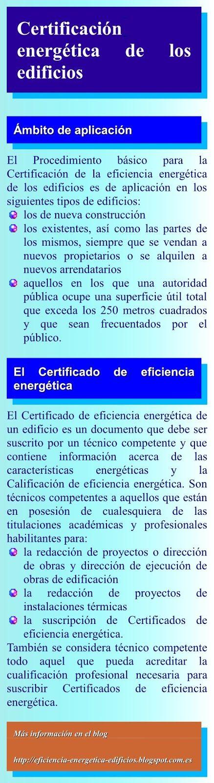 Certificación de la eficiencia energética de los edificios: Info02 : La certificación energética de los edificios