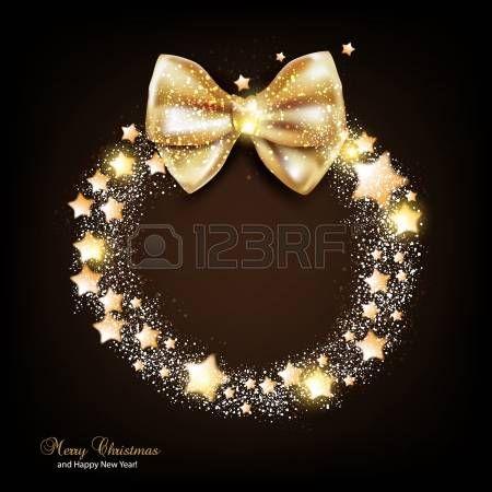 星と弓とエレガントなクリスマスの花輪。ベクトル photo